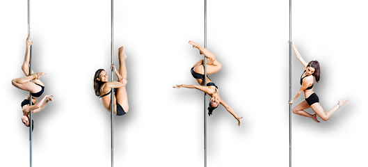 four pole dancers